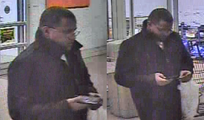 Surveillance images show the man who made fraudulent charges on a victim's bank account last month. _ El Paso County Sheriff's Office_150697