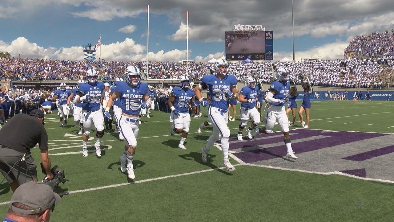 The Air Force hosts Navy in historic college football rivalry game._195744