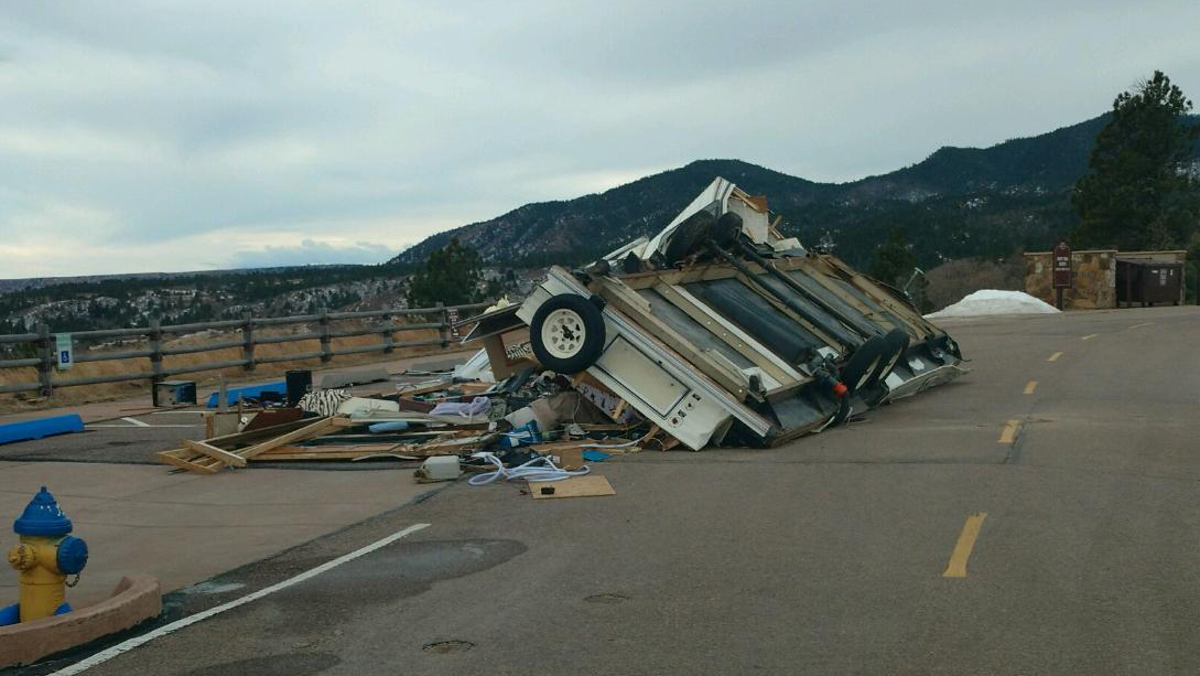 A child was injured when this trailer blew over Monday morning. _ Cheyenne Mountain State Park_214879