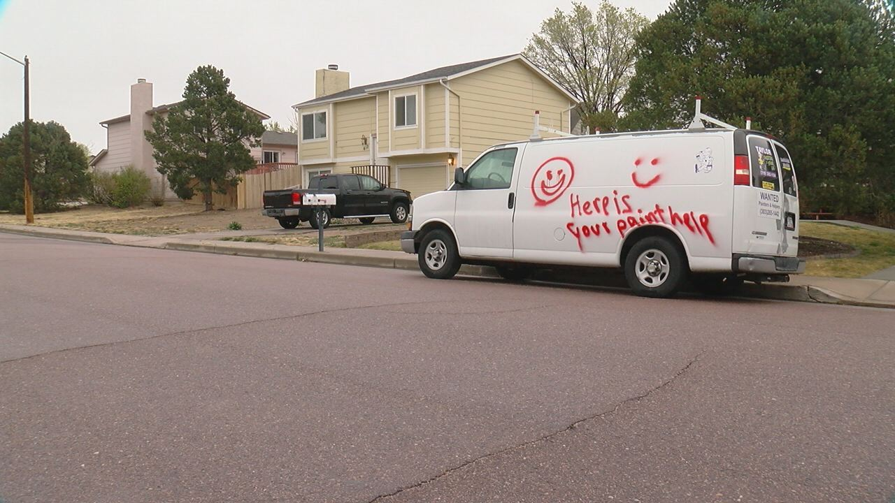 This van is one of several vehicles vandalized on Blossom Field Road in Fountain overnight. _ Mike Duran - FOX21 News_245395