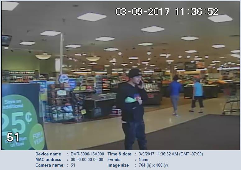 Surveillance image shows the man accused of robbing a woman who had just cashed her paycheck at the Monument King Soopers Thursday. _ Monument _237152