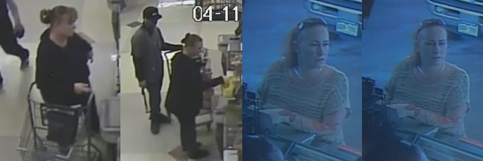 Surveillance images show the woman accused of using stolen checks at a Brighton King Soopers in April. _ El Paso County Sheriff's Office_273658