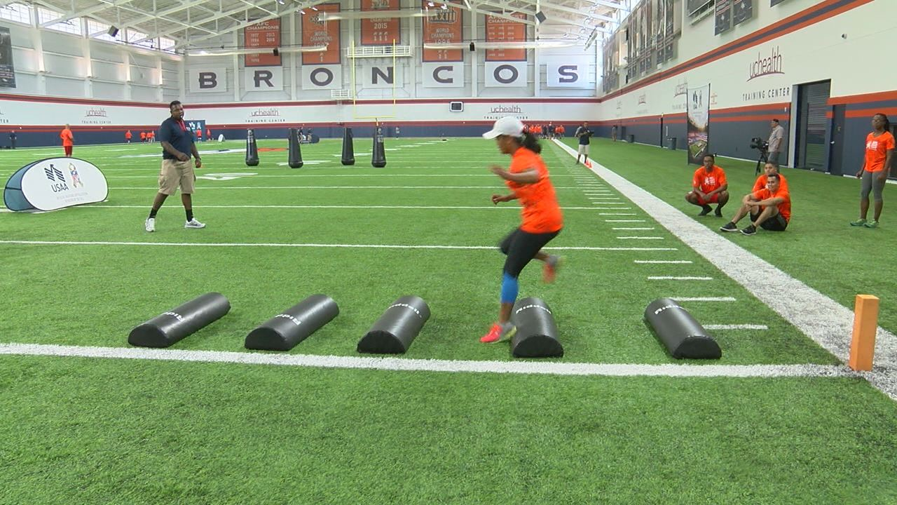 Members of the military participating in annual USAA's NFL Boot Camp._Kalyn McMackinFOX21 Sports_295385