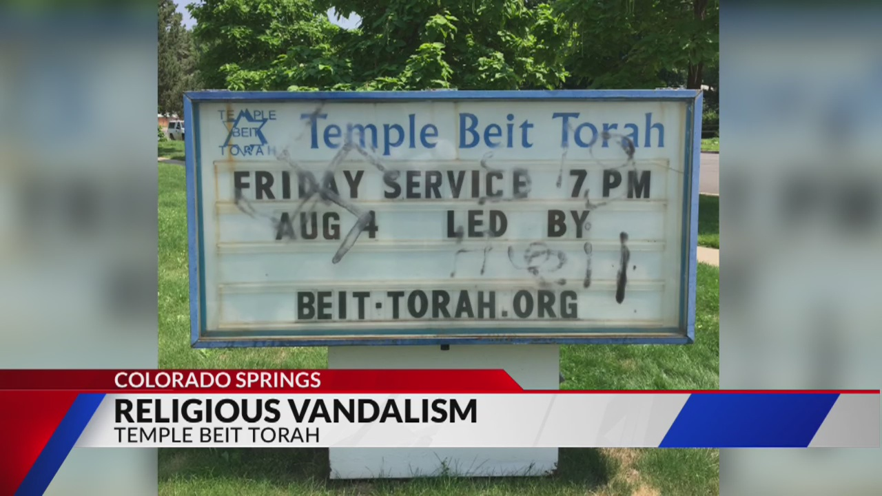 Local temple vandalized with Nazi symbolism_297431