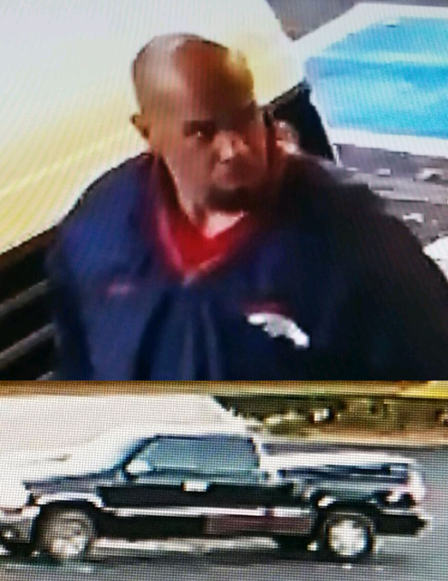 Surveillance images show the suspect and suspect vehicle in an attempted theft in eastern Colorado Springs earlier this month. _ El Paso County_339154
