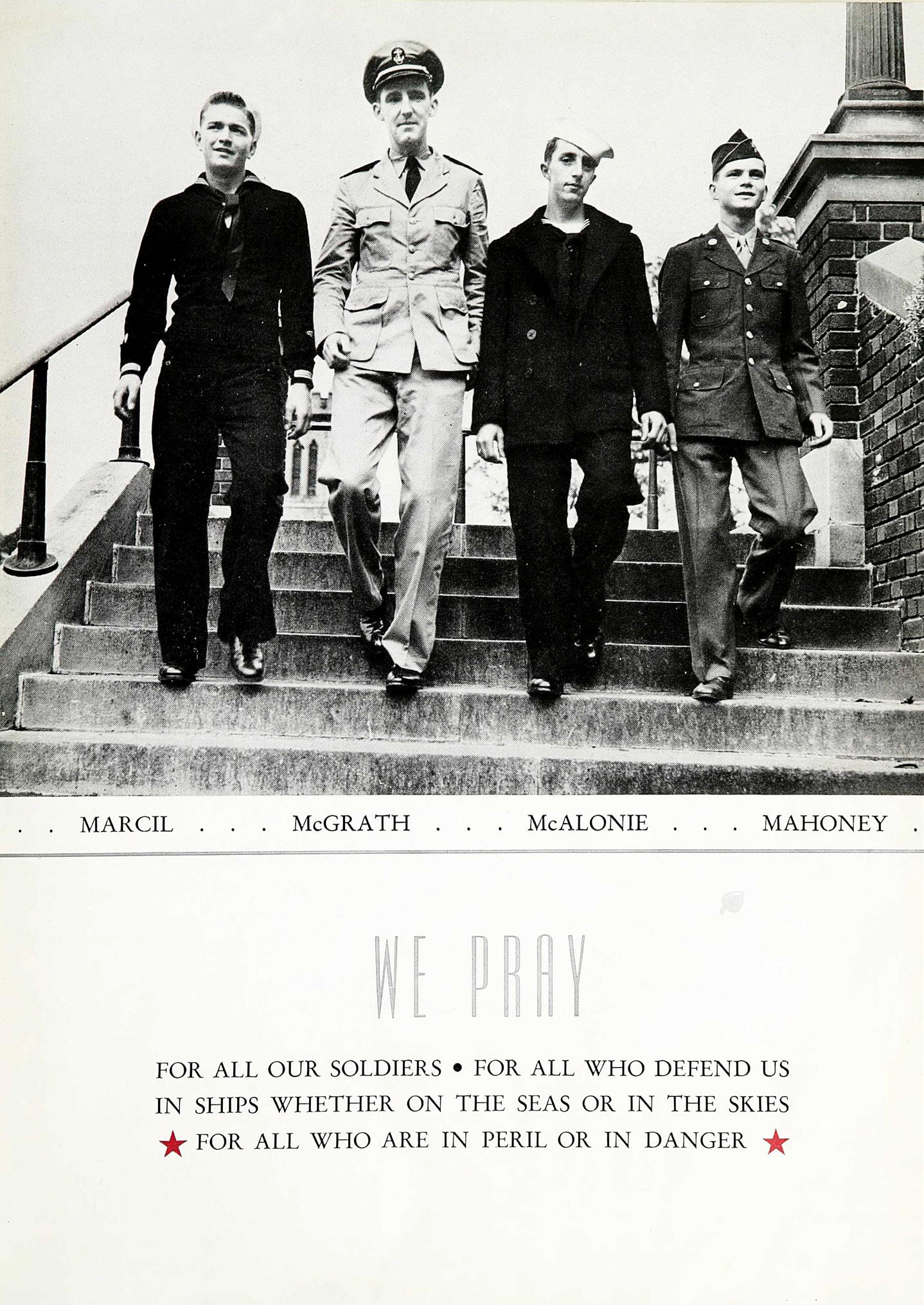 In this October 1943 photo provided by Catholic Central High School, four classmates in military uniform walk down the stairs at Catholic Central High