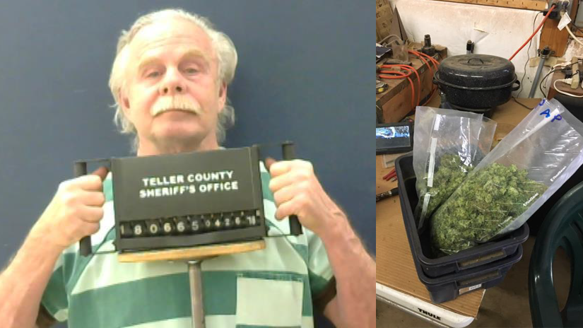 Suspect Robert Scott, along with some of the marijuana found in a Teller County home Wednesday. Teller County Sheriff's Office