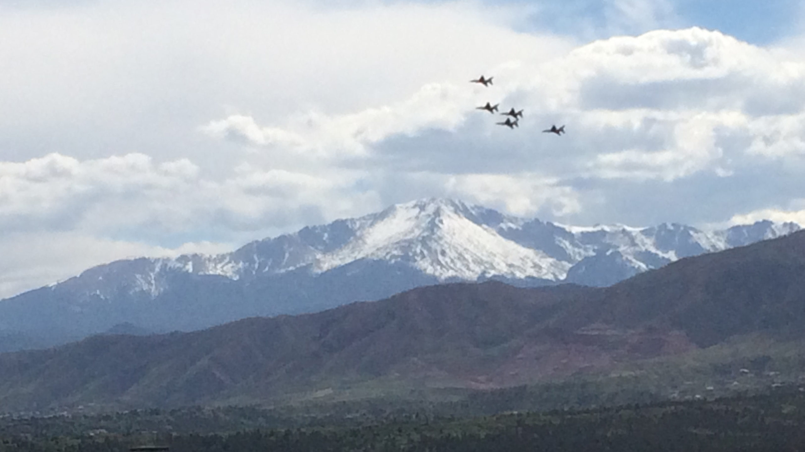 The Air Force Thunderbirds fly over the Air Force Academy during practice Tuesday, May 30, 2016. Mike Duran - FOX21 News