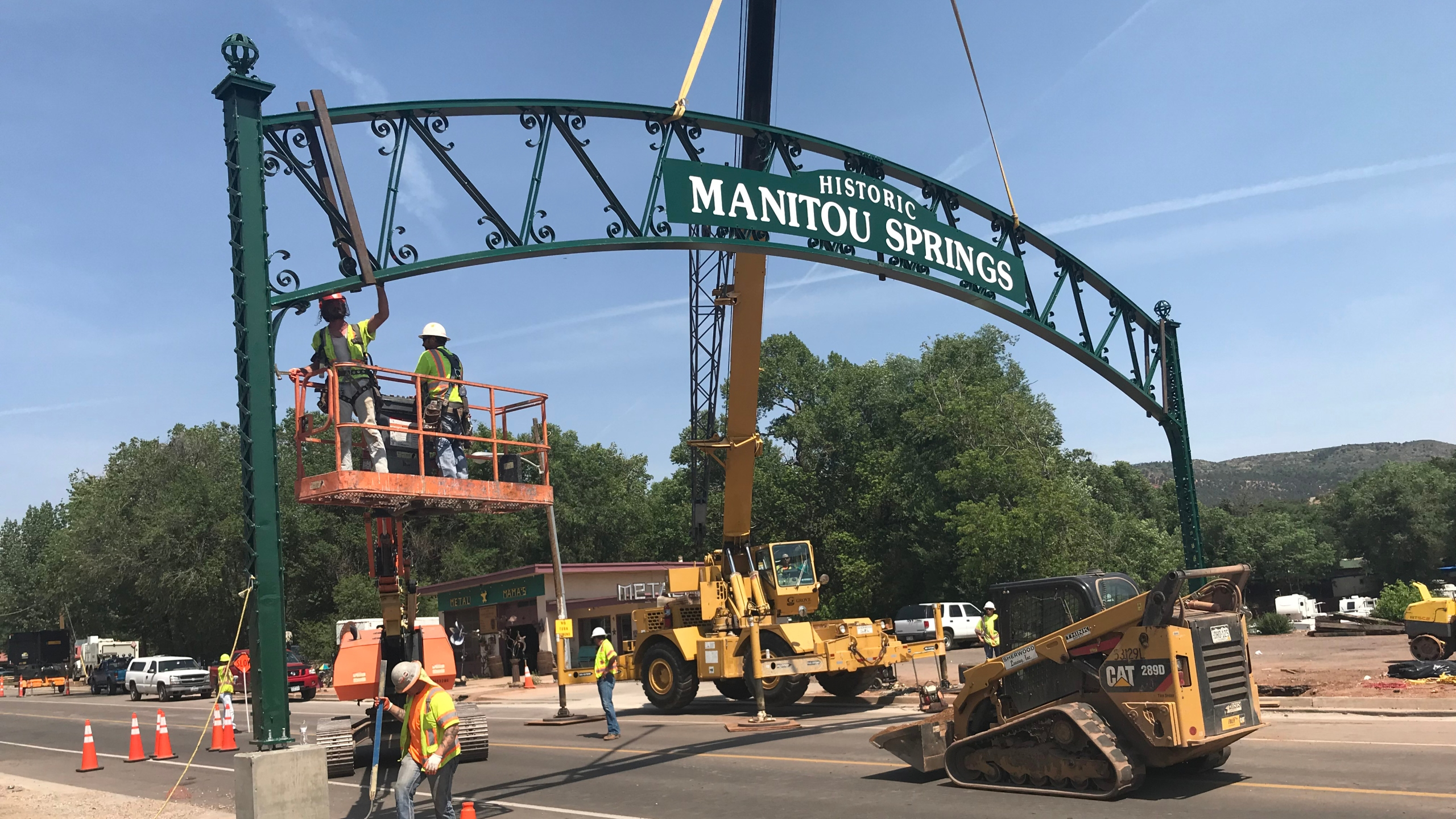 Historic Manitou Springs sign reinstalled after being taken down for construction