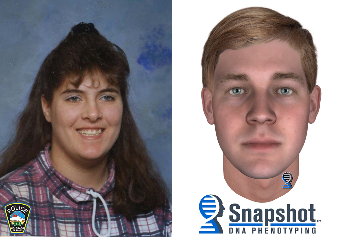 Jennifer Watkins, left, and a composite sketch of the unidentified suspect accused of killing her. Colorado Springs Police Department