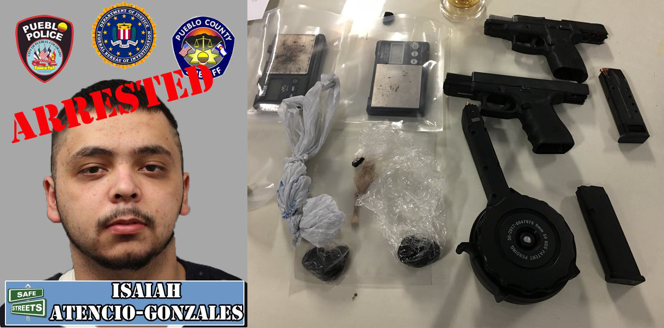 Isaiah Atencio-Gonzales and the drugs and guns he was arrested with. Pueblo Police Department