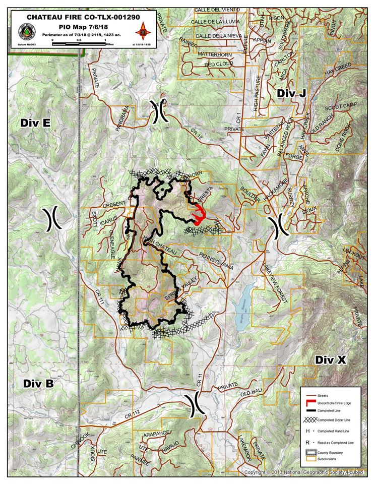 Map shows the Chateau Fire perimeter as of Friday. The black line indicates containment. Teller County Sheriff's Office