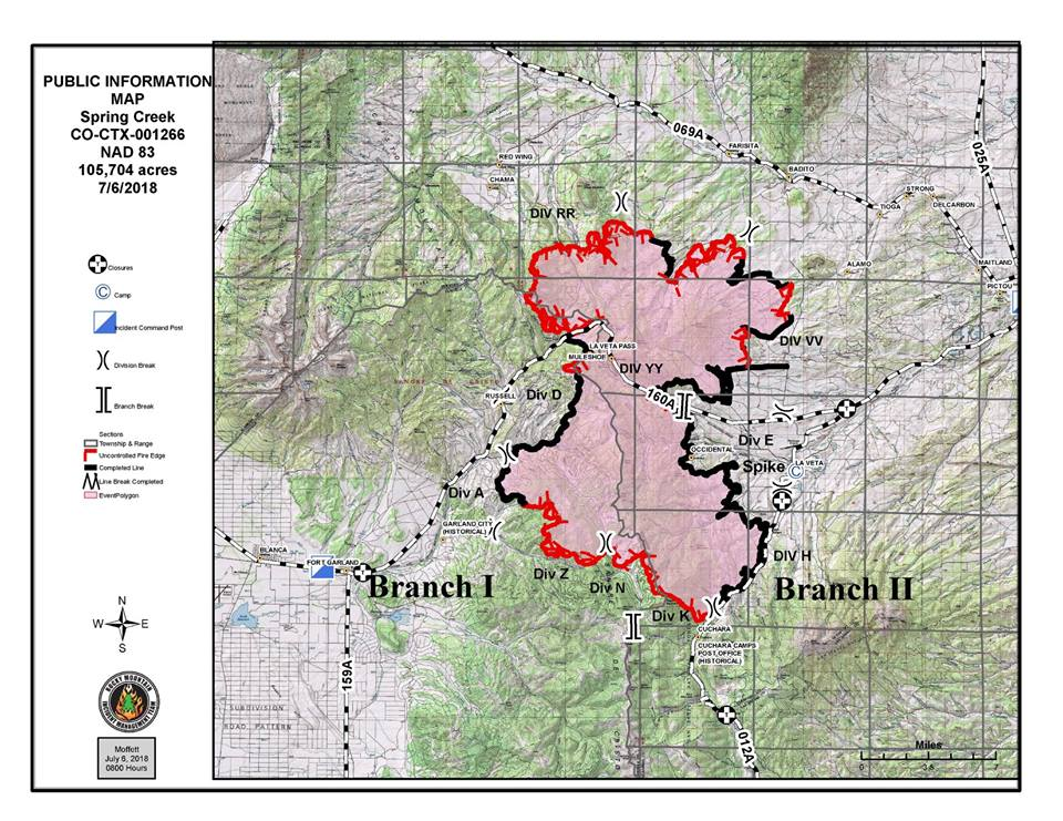 Map shows the Spring Fire perimeter as of Friday morning. Spring Fire Facebook page