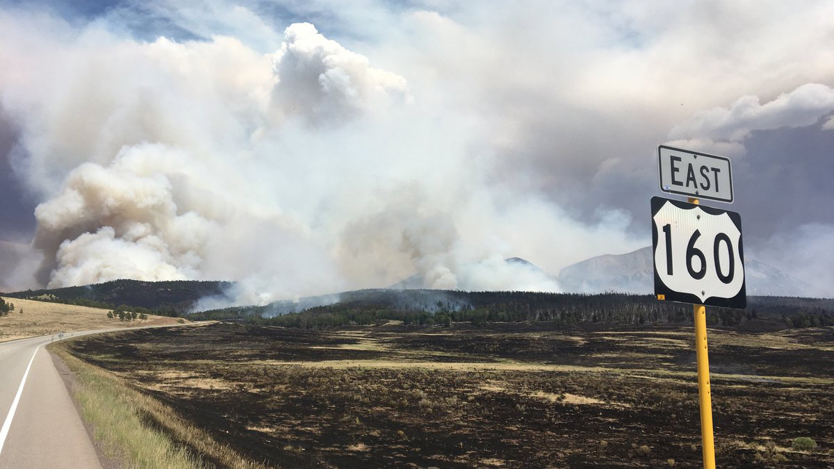 The Spring Fire burns along HIghway 160 over La Veta Pass Monday afternoon. Colorado State