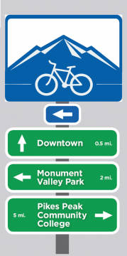 Design of the new wayfinding signs. City of Colorado Springs