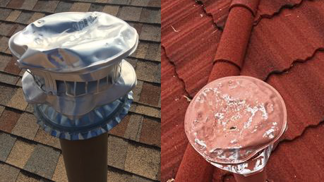 Mechanical vents damaged by hail. Pikes Peak Regional Building Department