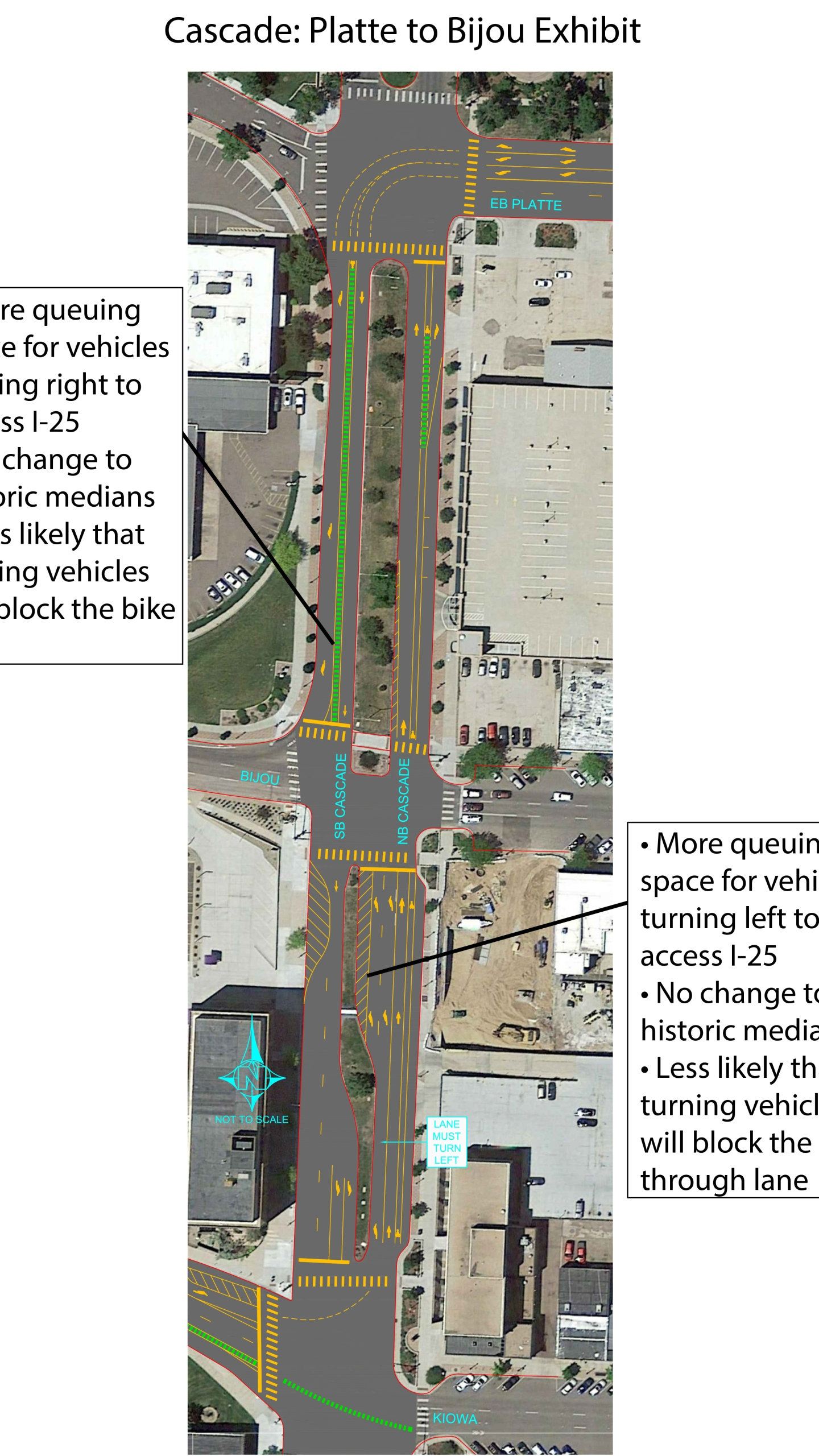 Map shows the new traffic configuration on Cascade Avenue between Platte Avenue and Bijou Street. City of Colorado Springs