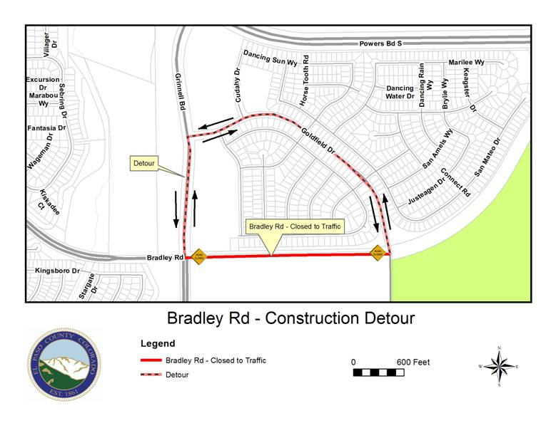 Bradley Road will be closed between Grinnell Boulevard and Goldfield Drive for about two weeks starting Thursday. El Paso County