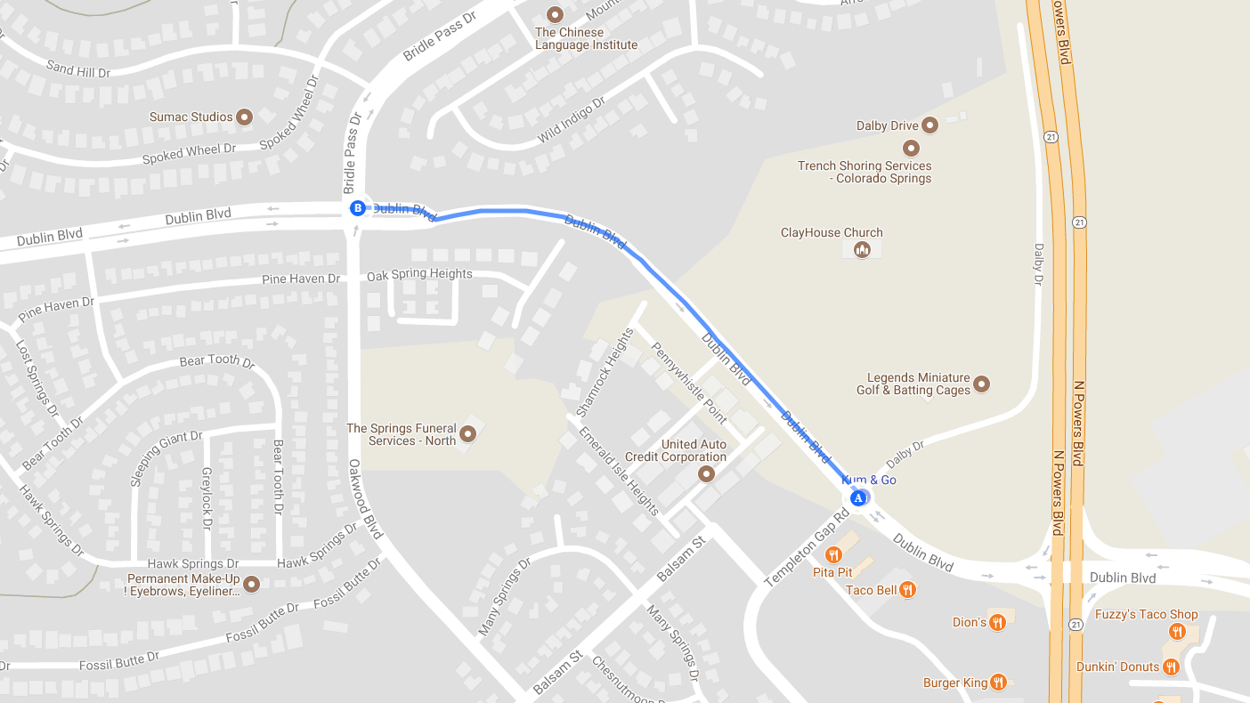 Map shows the portion of Dublin Boulevard that will be closed for five days starting Monday. Google Maps
