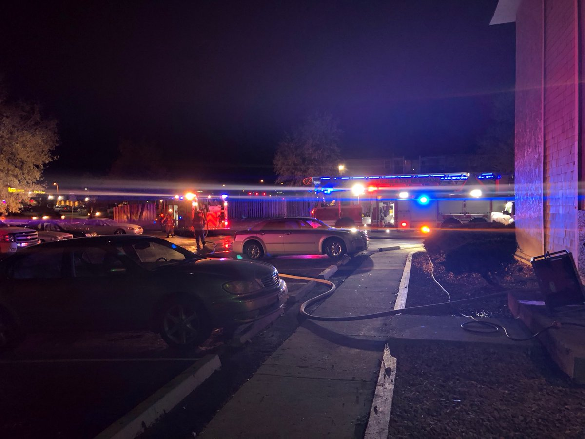Firefighters respond to afire at the Cedar Creek Club apartments Friday night. Colorado Springs Fire Department