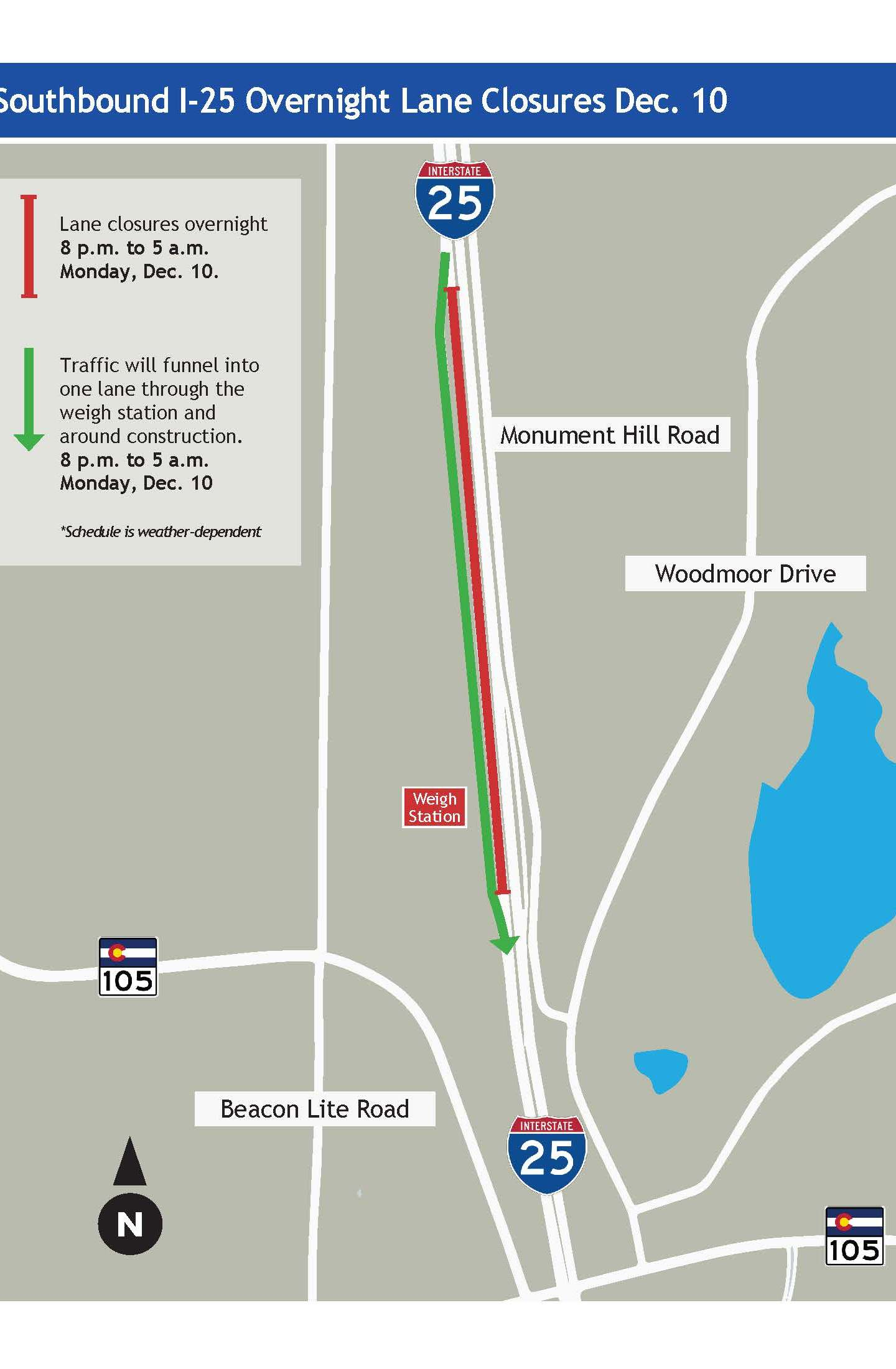 Map shows the portion of southbound Interstate 25 that will be closed Monday night. Colorado Department of Transportation