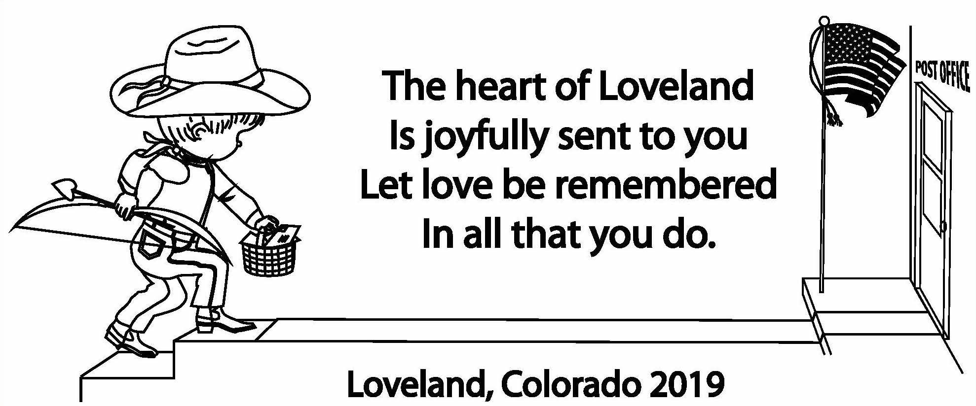 This design will be stamped onto Valentine's Day mail sent through Loveland this year.