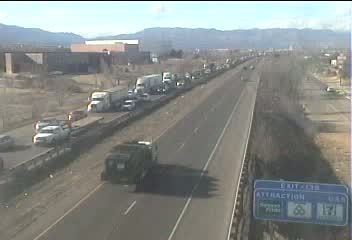 Traffic on Interstate 25 at Stratmoor Hills around 440 p.m. Monday. The traffic in the lanes furthest from the camera is moving south. Courtesy Col