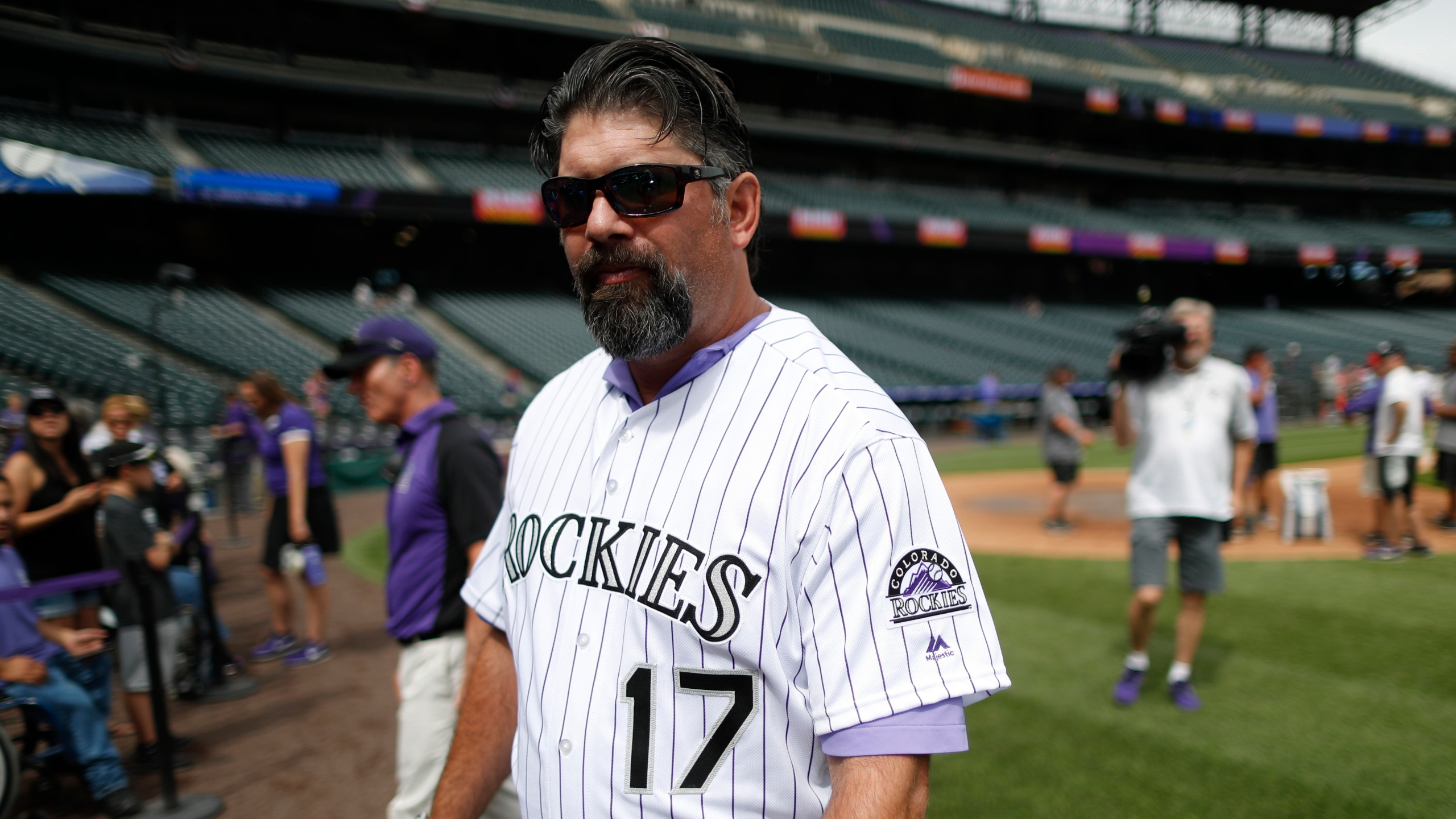 Retired Colorado Rockies first baseman Todd Helton during picture day for the Rockies before a baseball game against the Miami Marlins Saturday, June