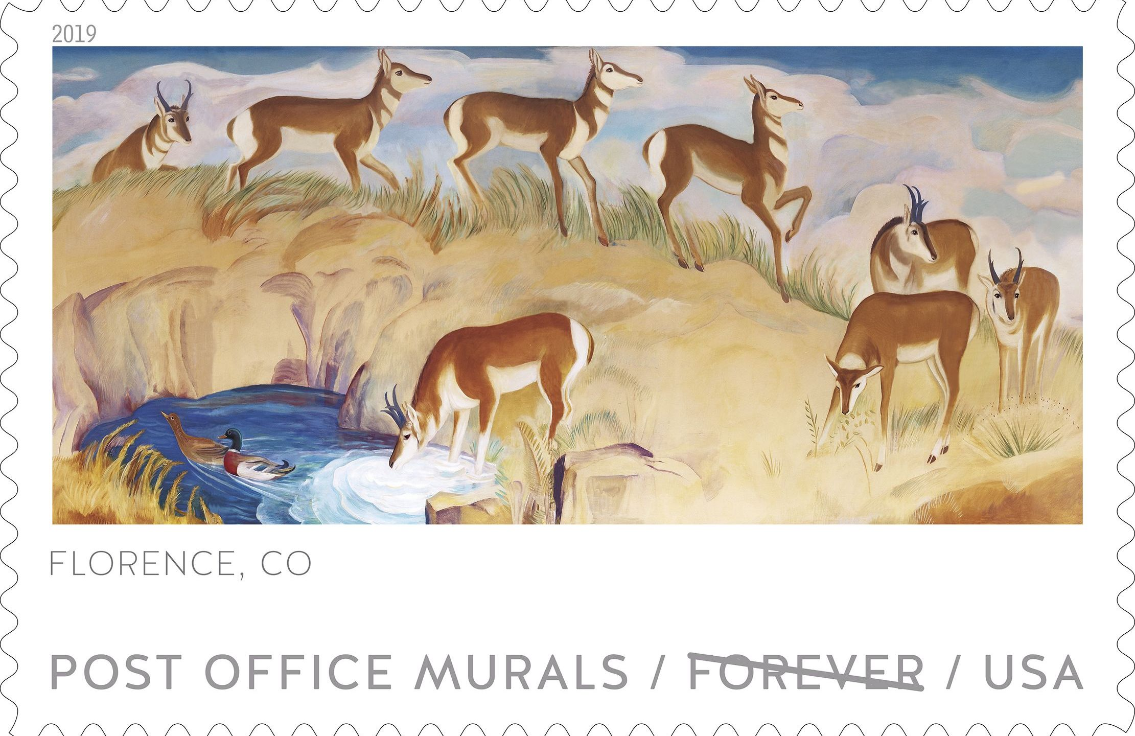 The U.S. Postal Service is introducing a new series of stamps celebrating post office lobby artwork across the country. This stamp features the Antel