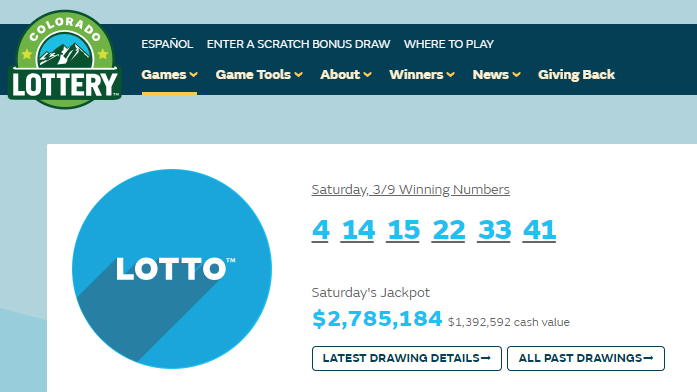 A screengrab from the Colorado Lottery website shows Saturday's winning Lotto numbers. A jackpot-winning ticket for this drawing was sold at a King So