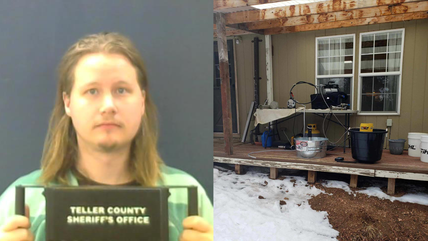 Andy Wilson, 32, was arrested after Teller County deputies spotted a hash oil lab on the back porch of a home near Florissant Friday. Teller County
