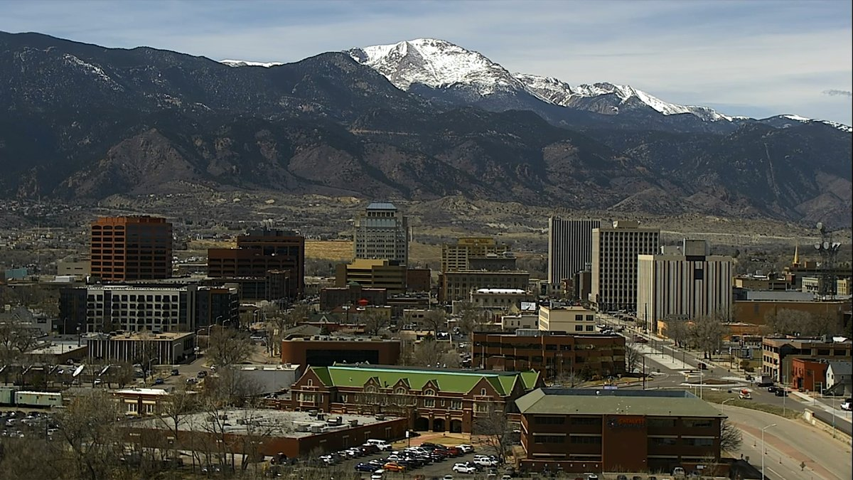 The Colorado Springs skyline as seen from a FOX21 Skycam Network camera just east of downtown on March 28, 2019.