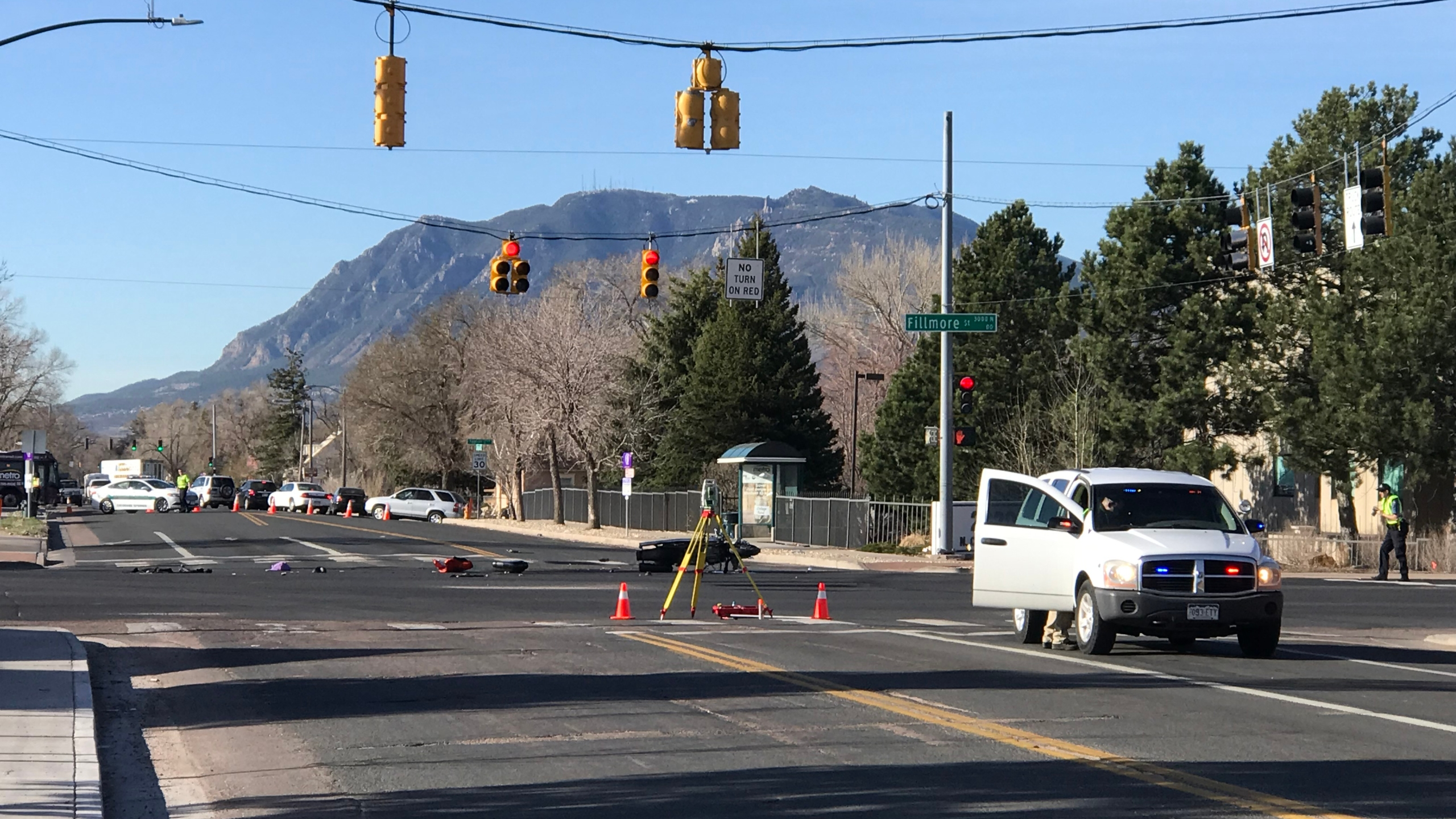 Police investigate a serious crash at the intersection of Fillmore Street and Cascade Avenue Monday morning. Shawn Shanle - FOX21 News