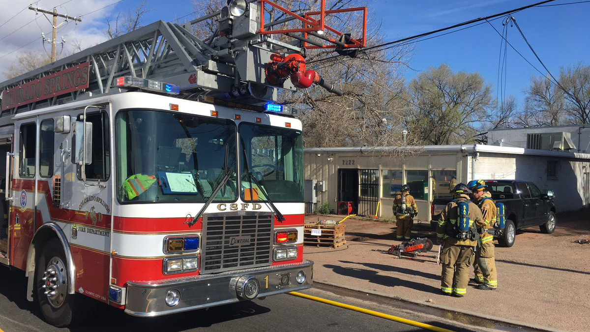 Firefighters fight a fire at a marijuana grow house in Colorado Springs April 25. Colorado Springs Fire Department
