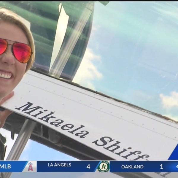 Olympic skier Mikaela Shiffrin takes flight with the Thunderbirds