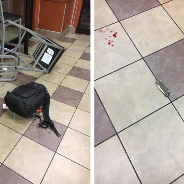 Pueblo police shared these two photos from an argument that led to a stabbing at a Pueblo restaurant Thursday night.