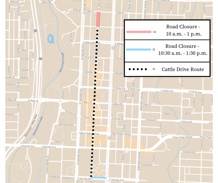 Map provided by the city of Colorado Springs shows the downtown roads that will be closed Friday for the Ride for the Brand Cattle Drive.