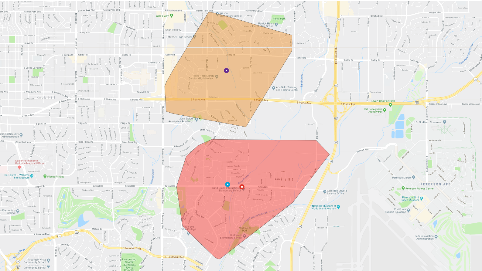 Map provided by Colorado Springs Utilities shows the areas of eastern Colorado Springs affected by a power outage Monday morning.