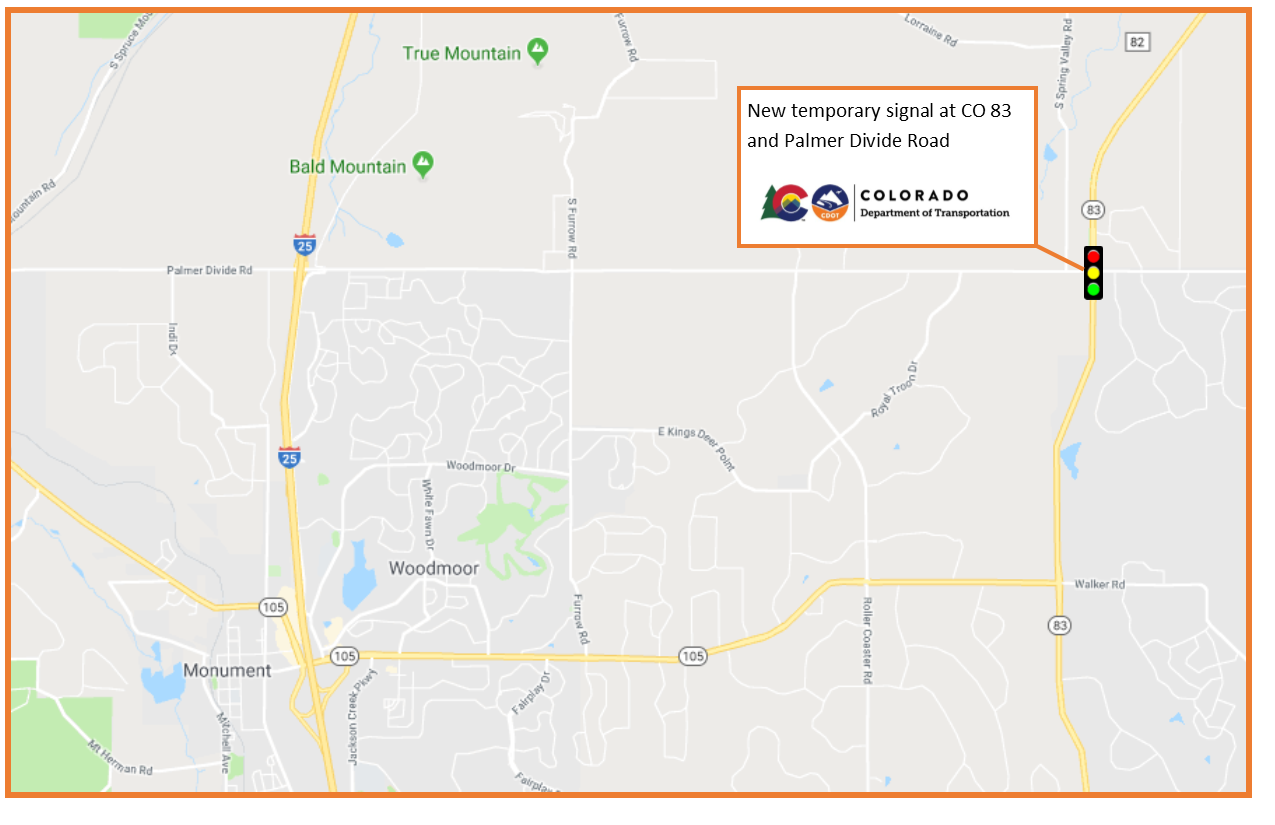 Map provided by CDOT shows the location of a temporary traffic signal at Highway 83 and Palmer Divide Road.