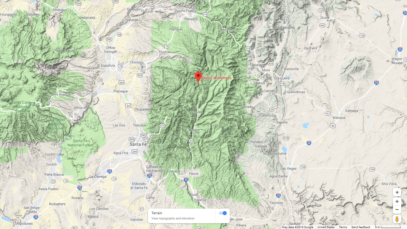 Map from Google Maps shows the location of the Pecos Wilderness in New Mexico