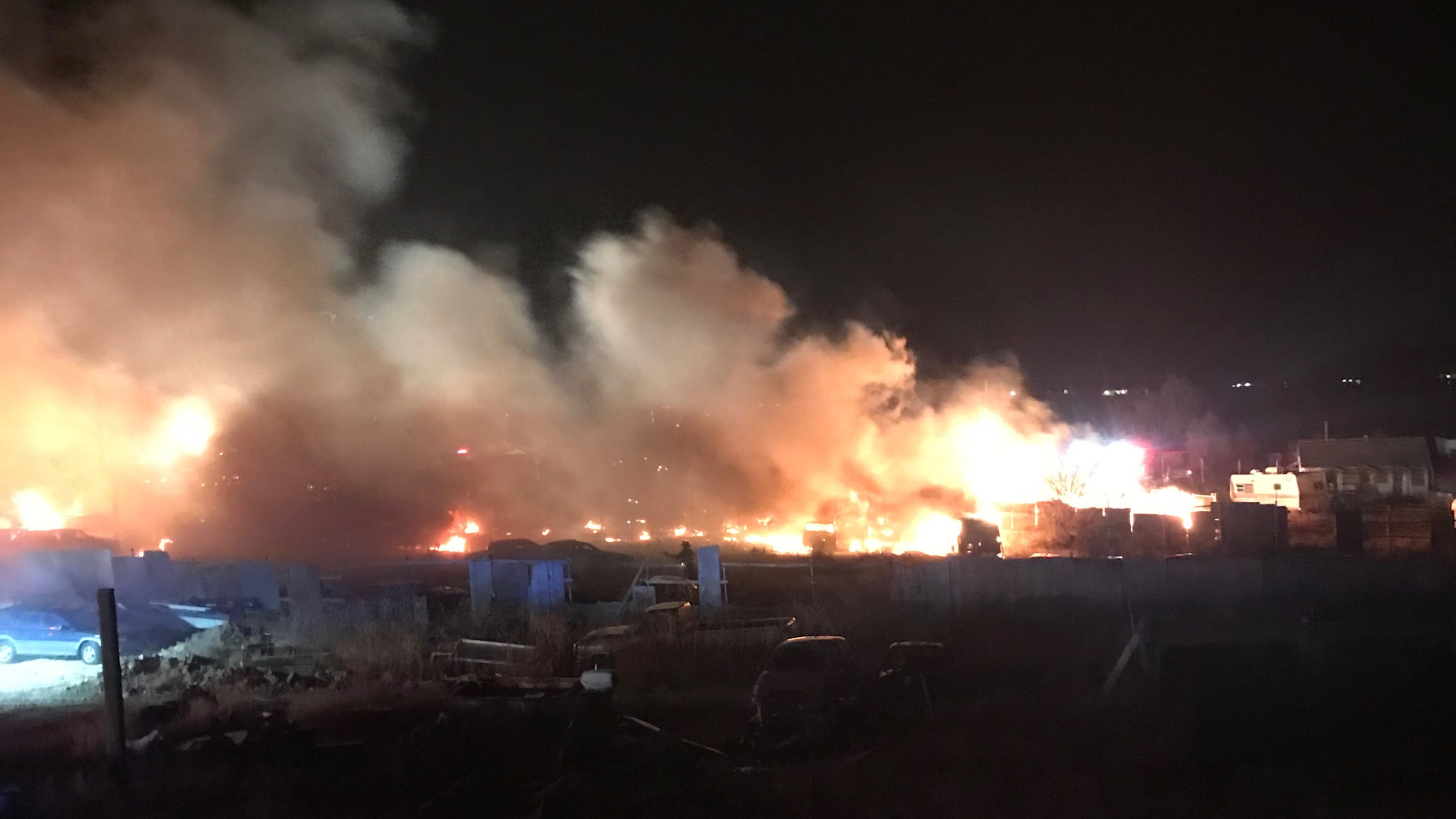 Three homes were destroyed by a fire in Pueblo County Wednesday evening. / Photo courtesy Pueblo County Sheriff's Office