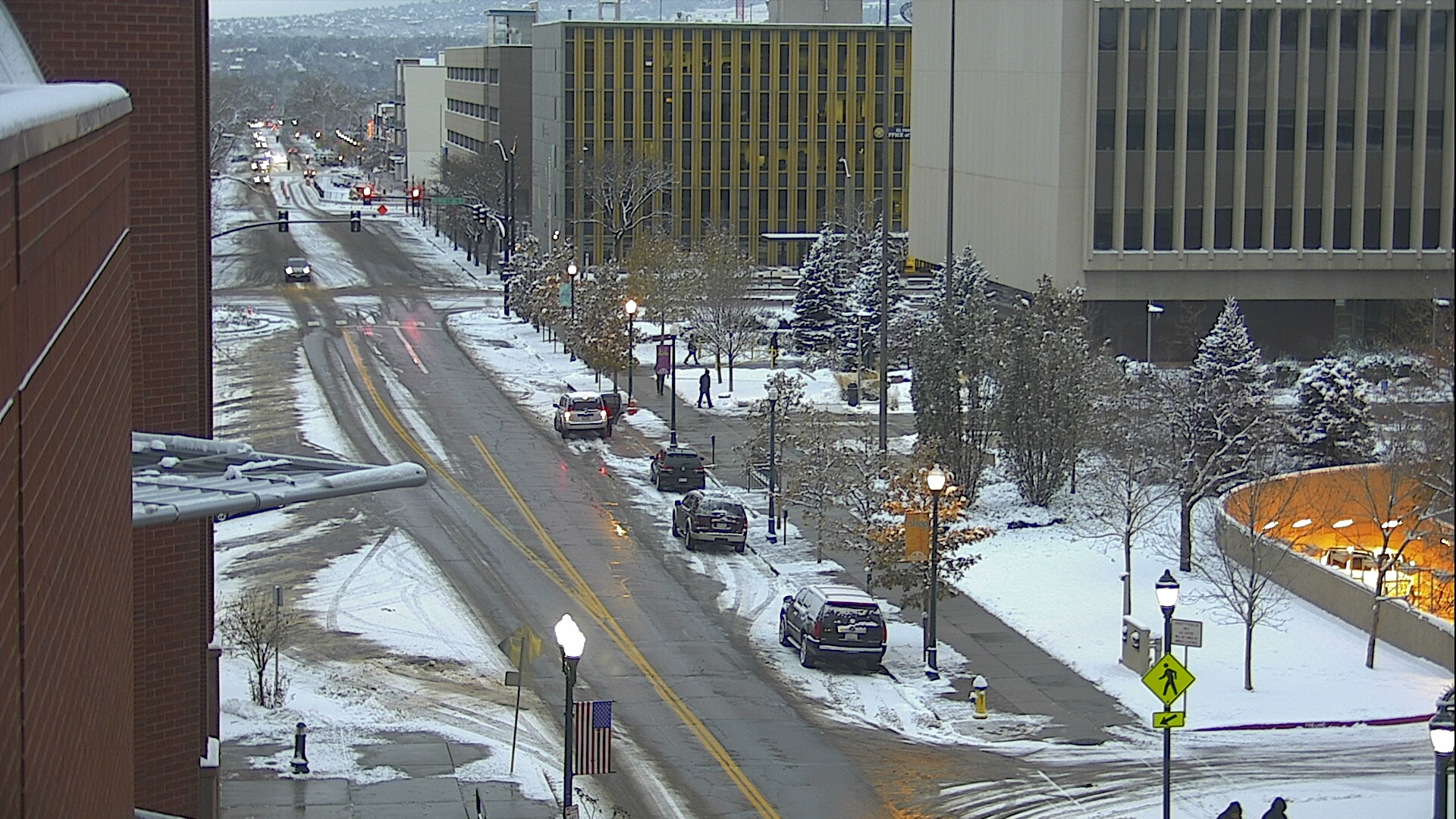 Tejon Street outside the El Paso County Courthouse in downtown Colorado Springs around 7:45 a.m. Tuesday.