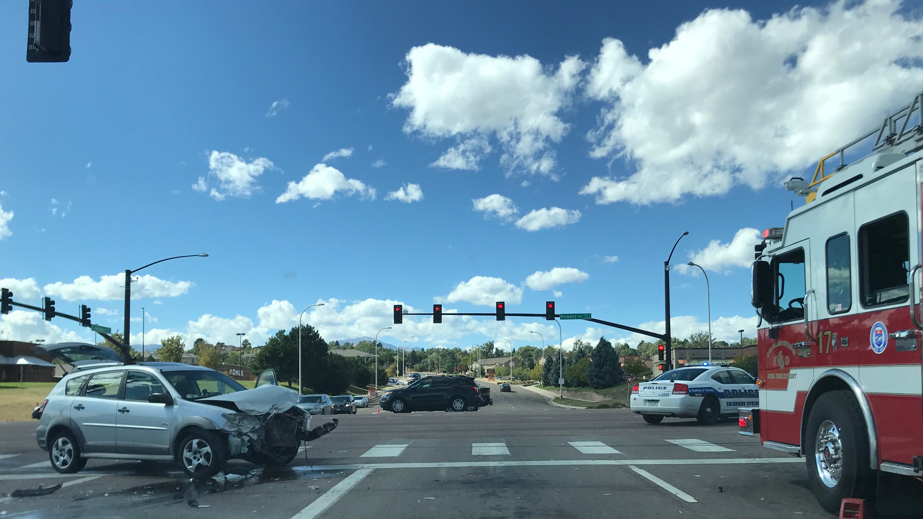 This crash closed a portion of northbound Powers Boulevard in eastern Colorado Springs Friday afternoon. / Kate Singh - FOX21 News