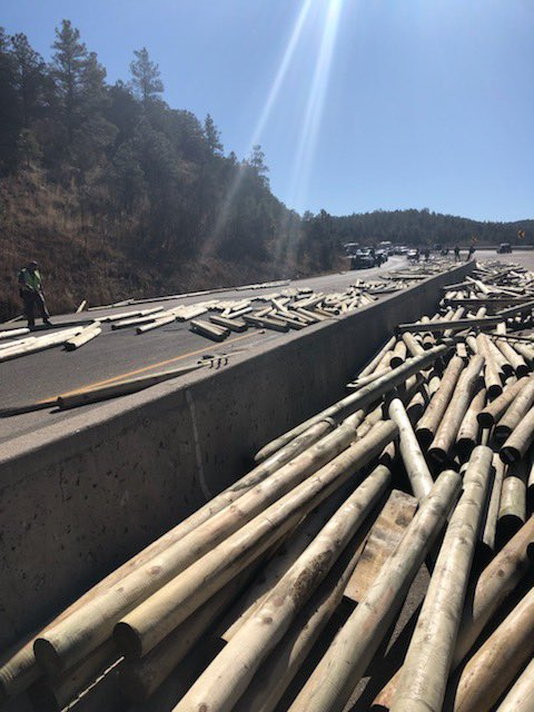 A semi crashed and lost its load on Interstate 25 just north of the New Mexico state line Tuesday morning. / Photo courtesy Colorado State Patrol - Pueblo