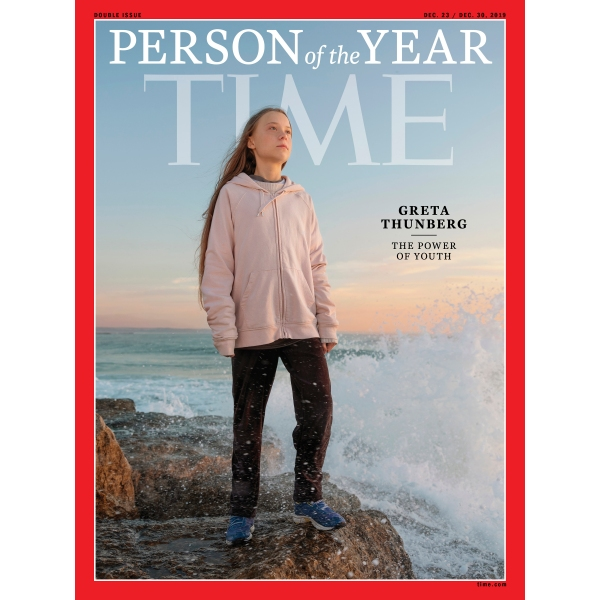 """This photo provided by Time magazine shows Greta Thunberg, who has been named Time's youngest """"person of the year"""" on Wednesday, Dec. 11, 2019. (Time via AP)"""