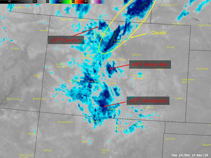 Infrared satellite imagery showing the cold air in the mountain valleys this morning. / Courtesy @NWSBoulder on Twitter