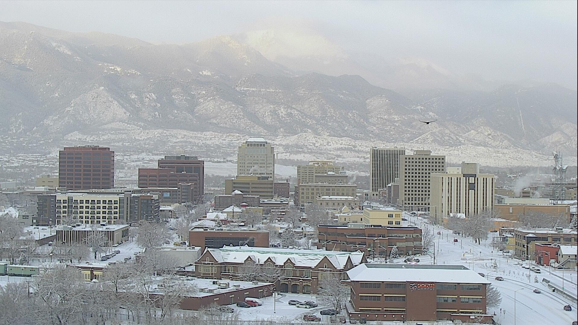 The Colorado Springs skyline around 8 a.m. Monday.