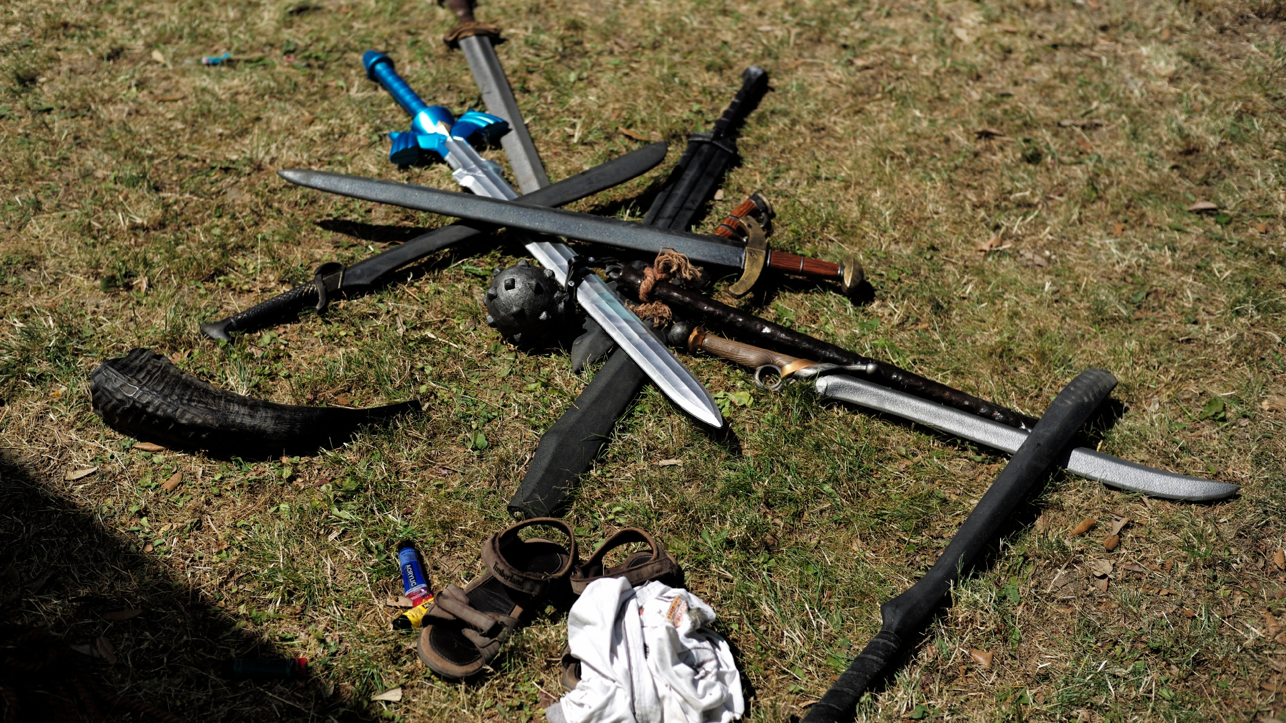 Fake sabers and swords are pictured at Japan Expo exhibition in Villepin, outside Paris, Thursday, July 4, 2019. The event, which runs from July 4 to 7 is devoted to Japanese culture and entertainment. (AP Photo/Kamil Zihnioglu)
