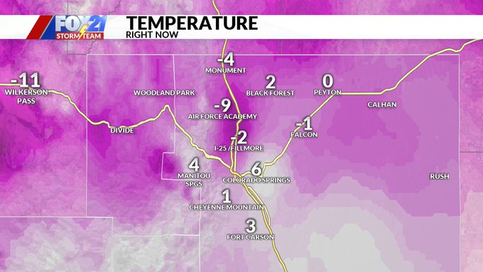 Temperatures in the Pikes Peak region at 5:30 a.m. Wednesday.