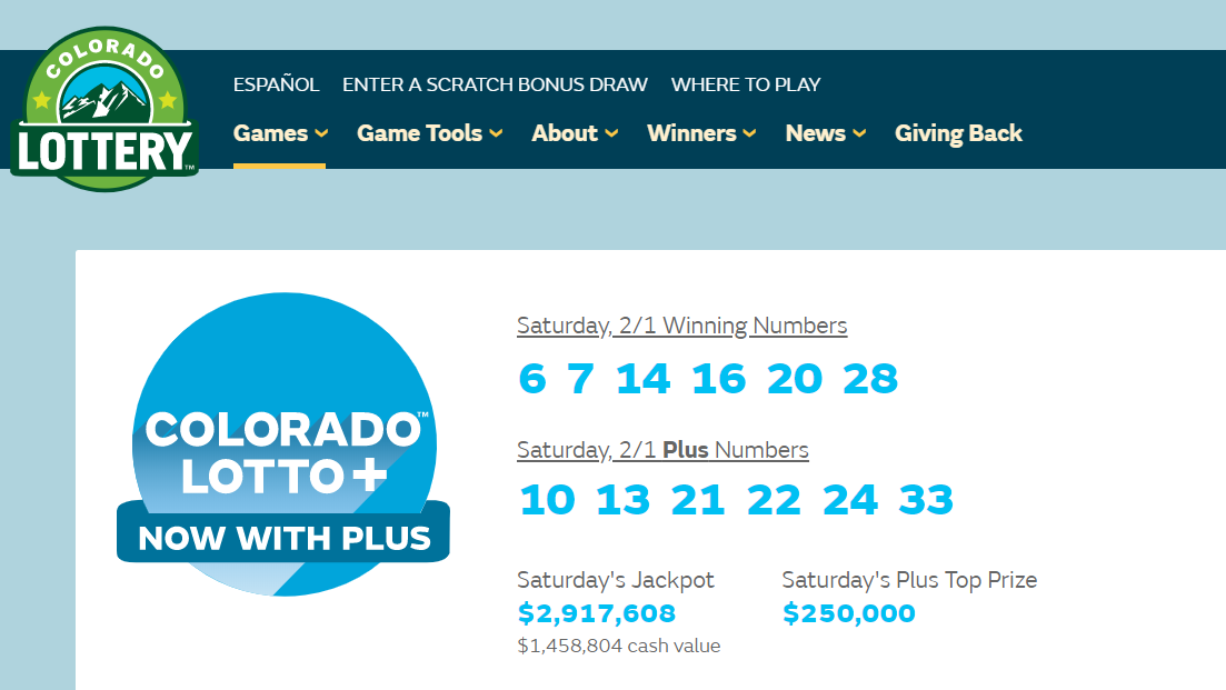 Screenshot from the Colorado Lottery website shows Saturday's winning lottery numbers.